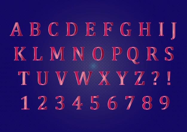 Set di numeri di alfabeti di colore rubino 3d