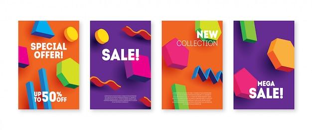 Set di volantini di vendita 3d. banner di vendita brillante con forme geometriche