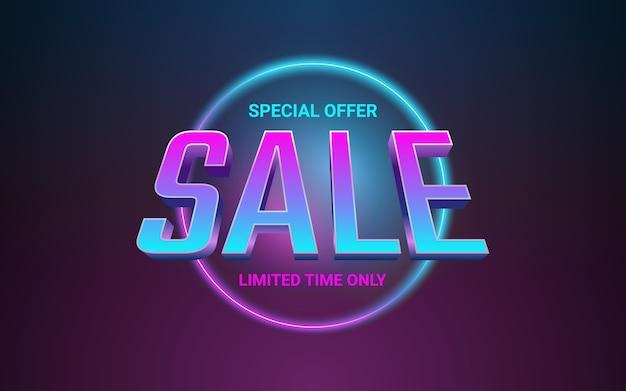 Testo dell'etichetta di vendita 3d nell'effetto di colore della luce al neon del cerchio luminoso