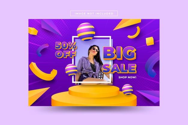 Vendita 3dsfondo realistico di vendita 3d con foto