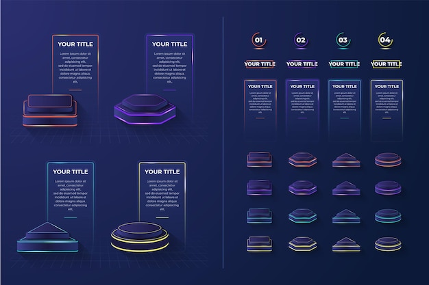 3d set podio leggero elemento infografico con 4 forme e colori
