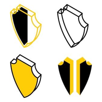 Icone di schermi 3d. icone isometriche di sicurezza. piastra isometrica dell'armatura. scudo giallo rotto. simbolo di contorno di sicurezza e protezione. vettore isolato su sfondo bianco