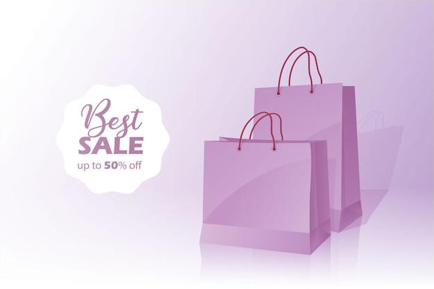 3d shopping bag migliore vendita sconto banner con cinquanta 50 percento di sconto