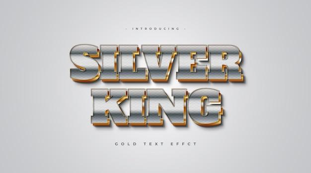 Stile di testo 3d argento e oro con effetto strutturato