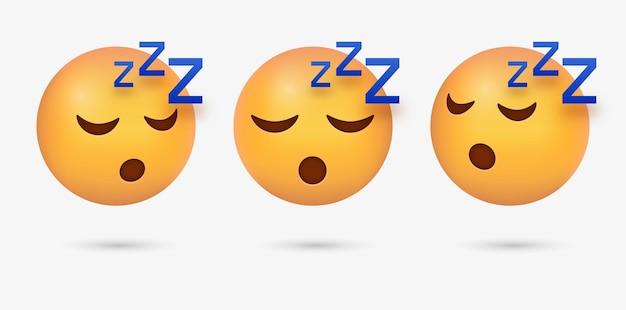 Faccina emoji addormentata 3d con occhi chiusi o emoticon assonnata con russare zzz