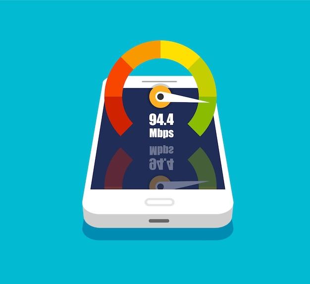 Smartphone 3d con display del telefono del misuratore del punteggio di credito con test di velocità su di esso Vettore Premium