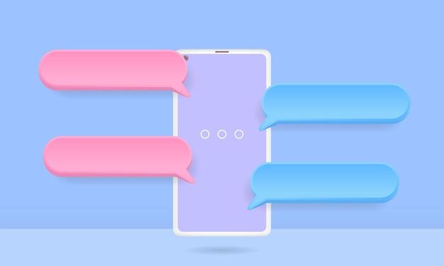 Smartphone 3d con bolle di chat fluttuanti, app di chat sui social media