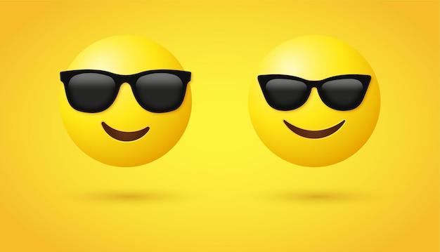 Faccina emoji sorridente 3d con occhiali da sole per emoticon sui social media