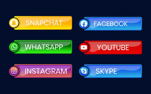 Pulsante icona social media 3d con effetto sfumato impostato per l'uso online dell'interfaccia utente ux