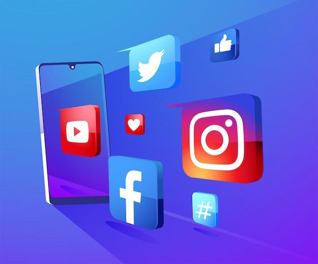 Fondo delle icone di media sociali 3d con l'illustrazione dello smartphone