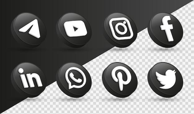 Loghi delle icone dei social media 3d nel moderno cerchio nero icona del logo della rete di facebook instagram