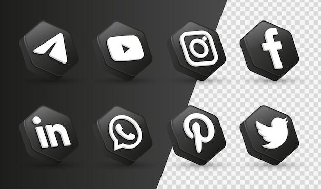 Loghi delle icone dei social media 3d nella moderna cornice nera icona del logo della rete di facebook instagram