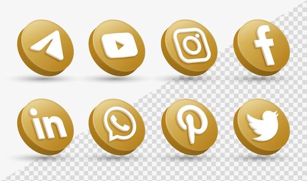 Loghi delle icone dei social media 3d nel moderno cerchio dorato icona del logo della rete di facebook instagram