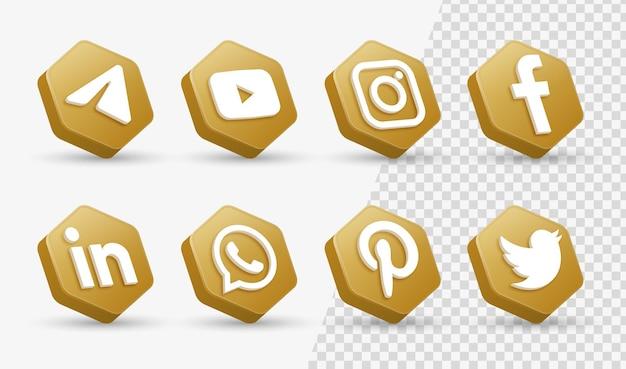 Loghi delle icone dei social media 3d nella moderna cornice dorata icona del logo della rete di facebook instagram