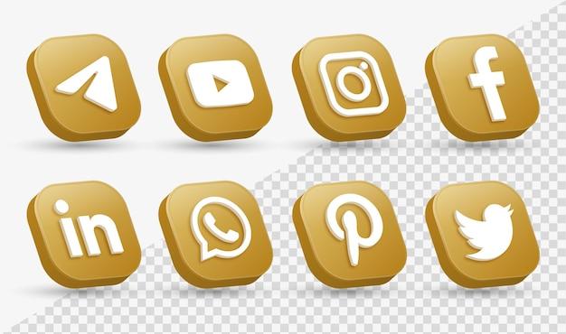 Loghi delle icone dei social media 3d nella moderna piazza dorata icona del logo della rete di facebook instagram