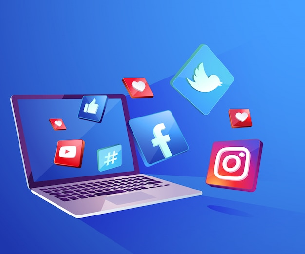 Iicon di media sociali 3d con dekstop del computer portatile