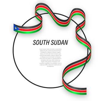 3d il sud sudan con la bandiera nazionale.