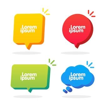Set di forme di fumetto 3d. banner di casella di chat nuvola, quadrato, cerchio e rettangolo vettoriale. banner, adesivo, tag, modello di badge con spazio per il testo.