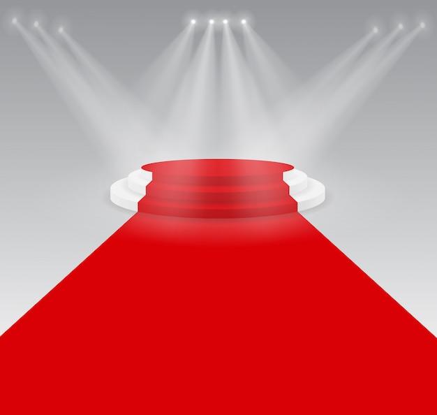 Podio palco 3d con illuminazione, podio vuoto con gradini. scena per la cerimonia di premiazione.