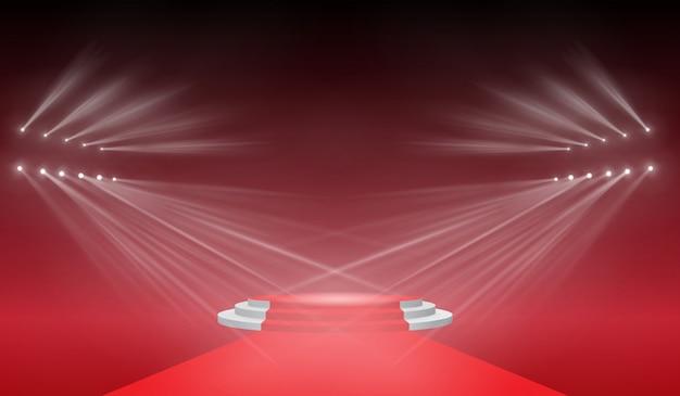 Palco 3d con luce di illuminazione della scena, effetto di luce flash trasparente, lente speciale per luce solare. lampi dorati luminosi e illuminazione con faretti.