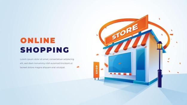 Negozio 3d e shopping online con un design 3d pulito ed elegante