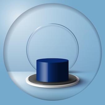 Stand del prodotto vuoto della stanza blu dello studio 3d, piattaforma, podio per la presentazione. scena per mostrare vetrina cosmetica, vetrina, vetrina. forme geometriche dal design minimale. illustrazione vettoriale