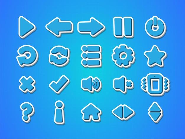 Insieme dell'icona del gioco multimediale di stile 3d