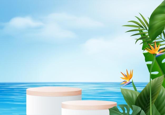 Scena dell'esposizione del prodotto del fondo di estate 3d con la foglia. podio in legno in mare con nuvole