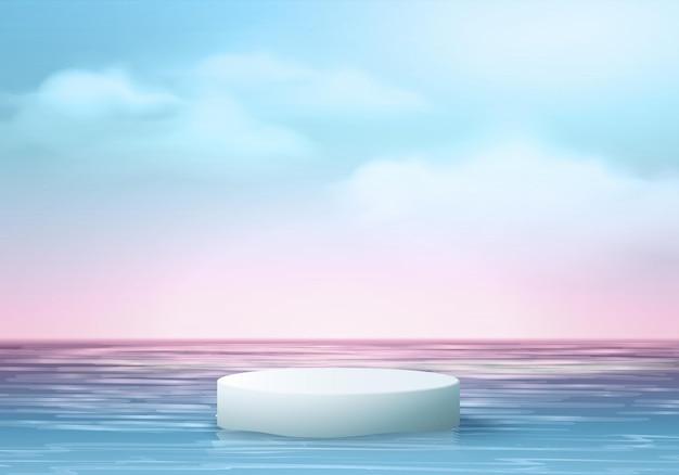 Scena dell'esposizione del prodotto del fondo di estate 3d con le foglie. display podio bianco nella nuvola del cielo blu del mare