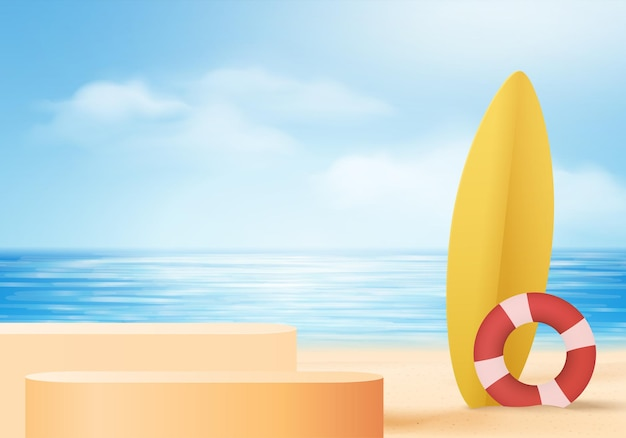 Scena dell'esposizione del prodotto del fondo di estate 3d con la tavola da surf. sfondo della nuvola del cielo sul display dell'oceano