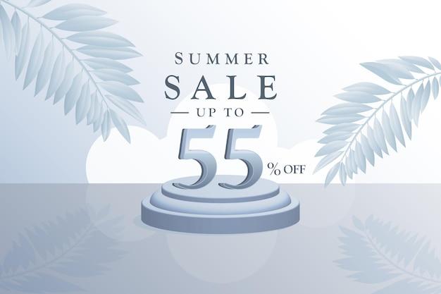 Sconto di sfondo vendita estiva 3d con cinquantacinque 55 percento