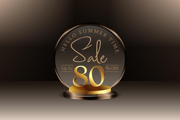 Sconto banner vendita estiva 3d con ottanta 80 percento