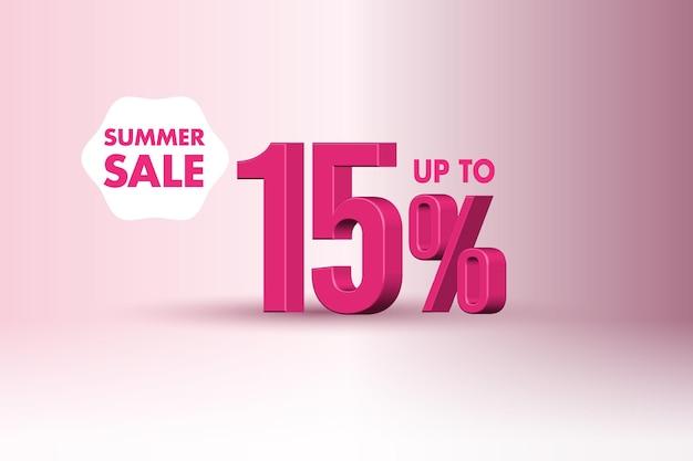 Sconto banner vendita estiva 3d con quindici 15 percento