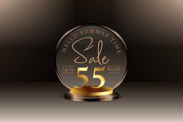 Sconto banner vendita estiva 3d con cinquantacinque 55 percento