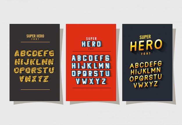Carattere di caratteri supereroi 3d e alfabeto su sfondi rossi e grigi
