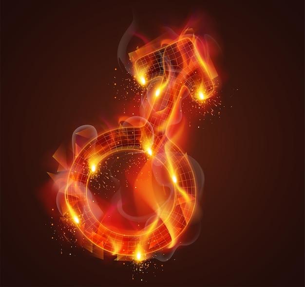 Simbolo 3d in fiamme con fumo e scintille su uno sfondo rosso scuro