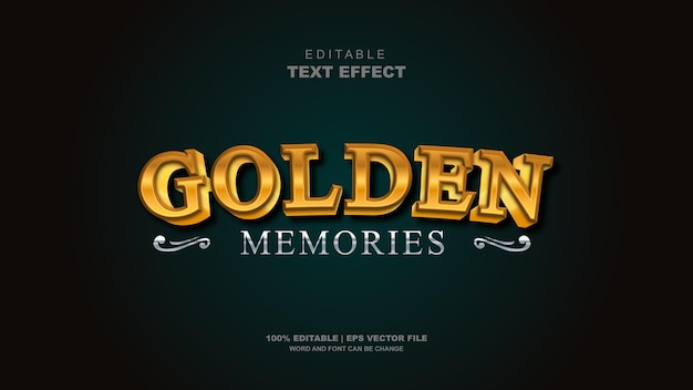 3d effetto testo vettoriale modificabile ricordi d'oro modificabile tipografia