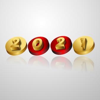 Numero di testo 3d 2021 con effetto metallico