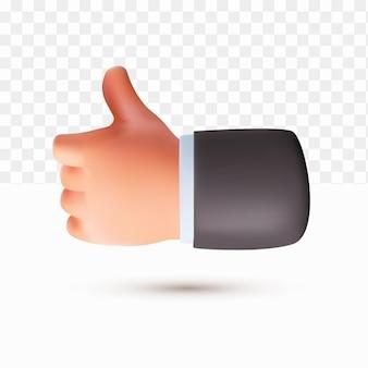 3d pollice in su carino mano in stile cartone animato su sfondo bianco trasparente