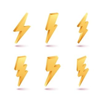 Insieme del flash di illuminazione del bullone e del tuono 3d