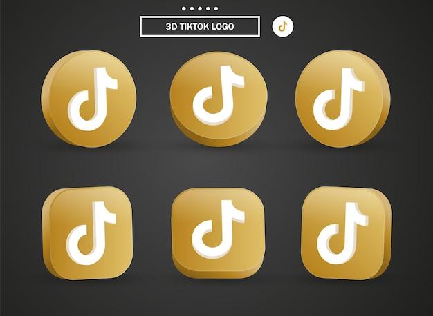Icona del logo tiktok 3d nel moderno cerchio dorato e quadrato per i loghi delle icone dei social media