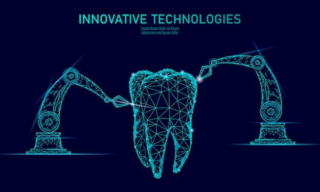 Concetto poligonale del braccio del robot dell'innovazione del dente 3d.
