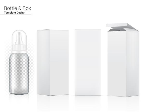 Illustrazione realistica del biberon trasparente 3d.