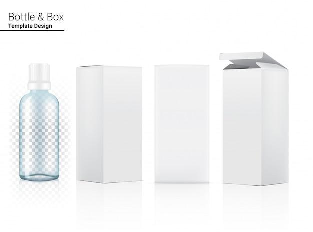 Bottiglia trasparente 3d realistica per bevanda e scatola per illustrazione del prodotto. sanità e bevande concept design.