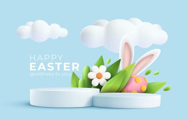 Saluto di pasqua alla moda 3d con podio del prodotto 3d, fiore primaverile, nuvola, uovo di pasqua e coniglietto