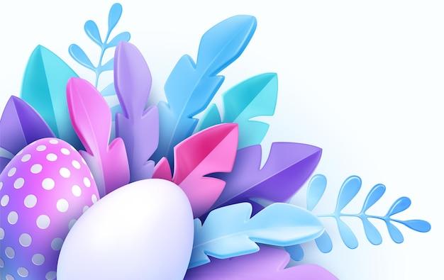 Cartolina d'auguri di pasqua realistica alla moda 3d, banner con fiori, uova di pasqua