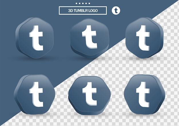 Icona di tumblr 3d in cornice in stile moderno e poligono per i loghi delle icone dei social media