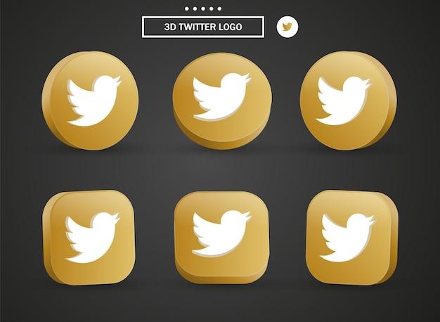 Icona del logo twitter 3d nel moderno cerchio dorato e quadrato per i loghi delle icone dei social media