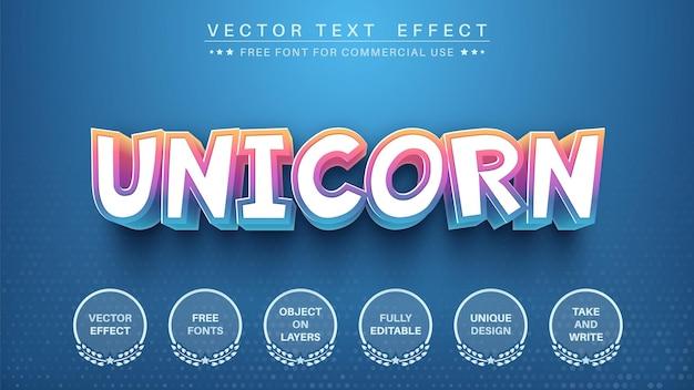 Effetto di testo modificabile unicorno 3d, stile del carattere