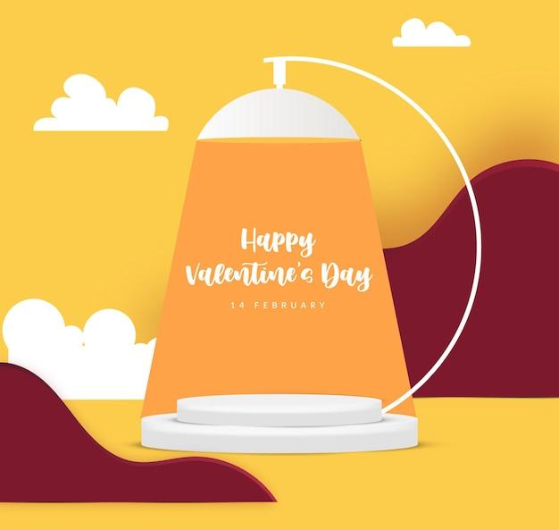 Scena del podio della lampada di san valentino 3d per la visualizzazione o il posizionamento del prodotto